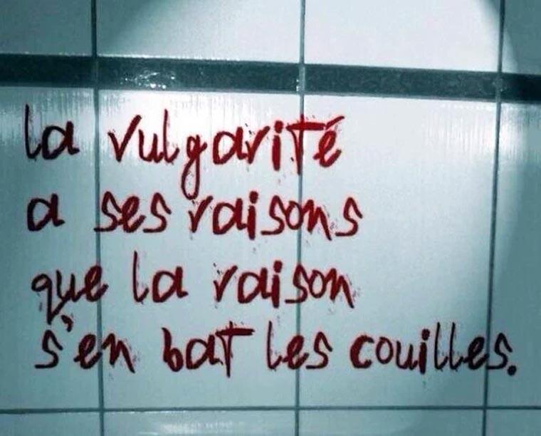 la vulgarité a ses raisons que la raison s'en bat les couilles - graffiti